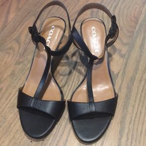Coach black Melodie T-strap open toes heels
